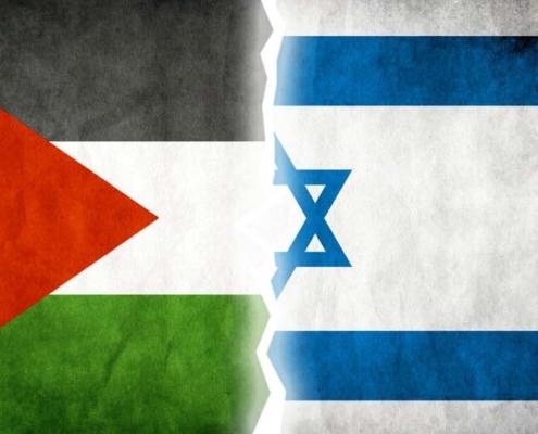 Bandeiras da Palestina e de Israel