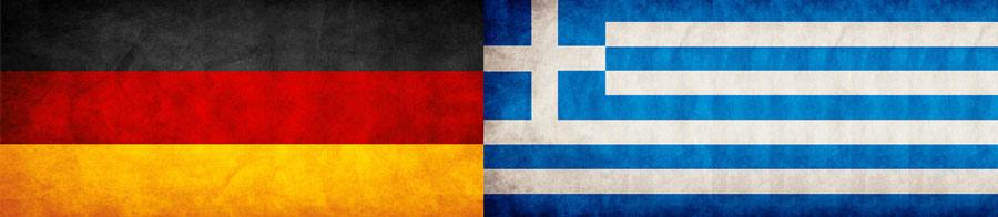 Bandeiras da Alemanha e da Grécia