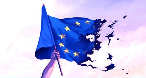 bandeira a União Europeia rasgada