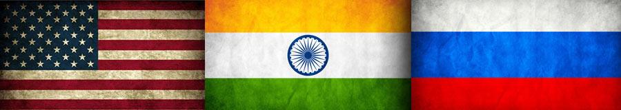 Bandeiras dos Estados Unidos, da Índia e da Rússia