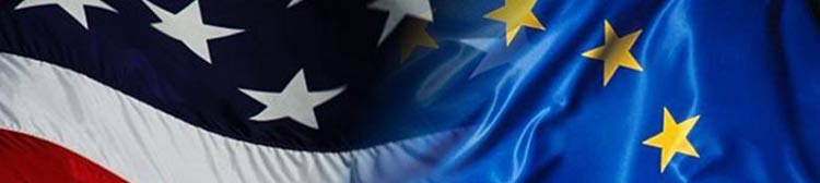 bandeiras dos estados unidos e da união europeia