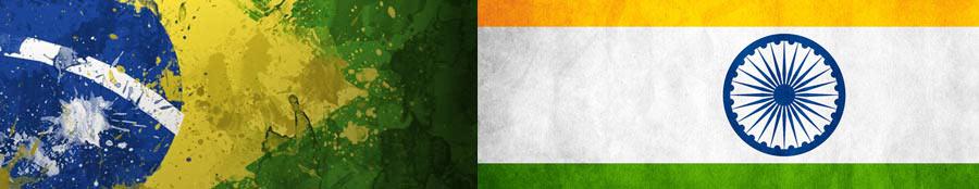Bandeiras do Brasil e da Índia
