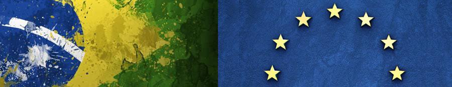 Bandeiras do Brasil e da União Europeia