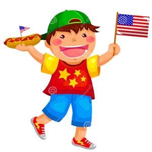 filho de diplomata com bandeira na mão