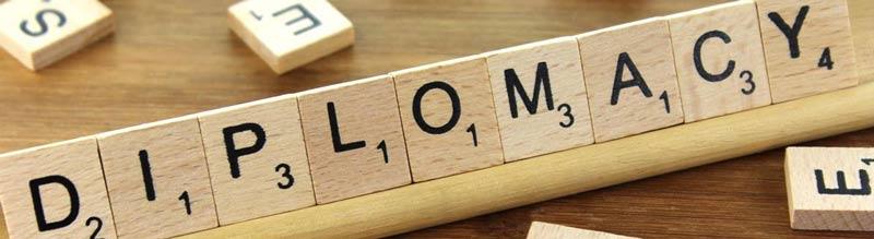 blocos de maneira e a palavra diplomacia