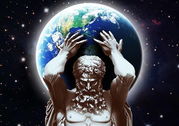 atlas diplomata segurando o mundo