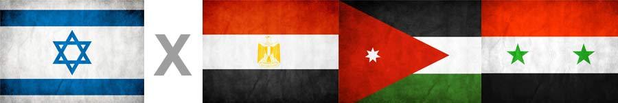 Bandeiras de Israel, Egito, Jordânia e Síria