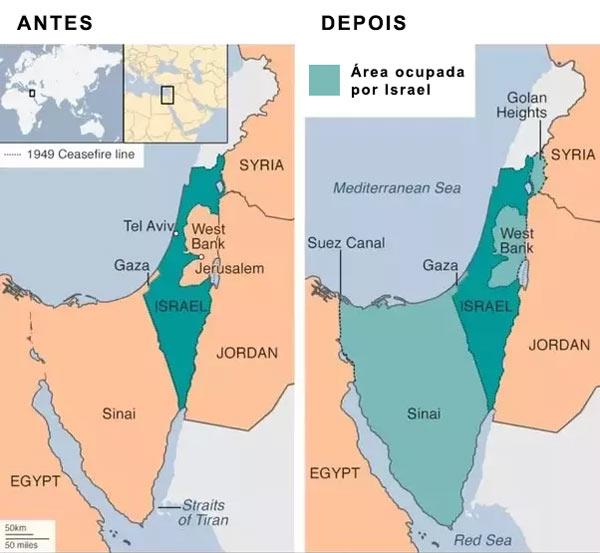 Mapa de Israel antes e depois da Guerra dos Seis Dias