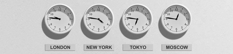 relógios marcando vários horários